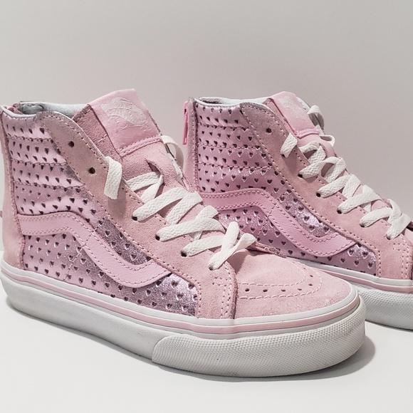 Pink metallic heart Vans
